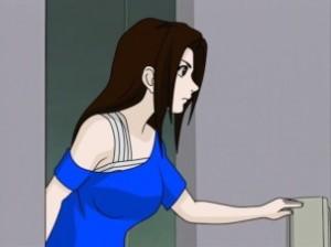 women walking into room
